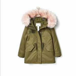 Zara girls jacket green with pink faux fur size10